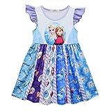 TOPTAMP Toddler Girls Princess Frozen Twirl Dress Ruffle Bottom Blue Flutter Sleeves Dress 4T