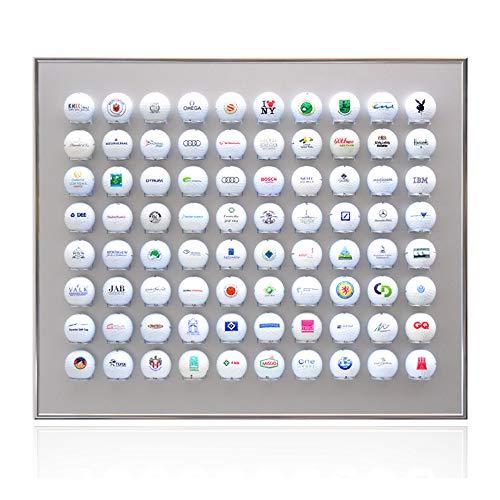 Knix Premium Golfball Setzkasten aus Aluminium für 80 Golfbälle (60 x 50 cm) - QUER - Schaukasten, Golf-Regal Vitrine Display passionierte Golfer