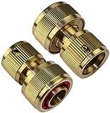 AERZETIX - Juego de 2 Conectores/acopladores 3/4'' en Lado de Manguera y 1/2'' en Lado del Grifo - Racor/Adaptador rápido con Parada de Agua para Manguera de riego/Grifo - Acero latón - C47454