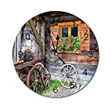 AEMAPE Reloj de Pared Redondo con contraventanas, Ventana desgastada con Flores en Maceta, Ruedas, Granja, Escena Rural, Vista Frontal, marrón, Verde, Rojo