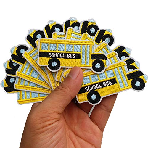 2.8'x1.8' 12pcs Back to School Bus Yellow Iron On Embroidered Patches Appliques Machine Embroidery Needlecraft Projects Boys Girls Kids DIY