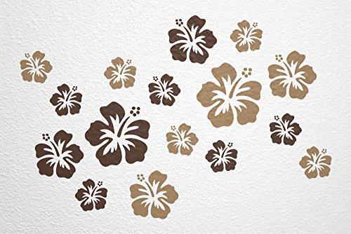 WANDfee® Wandtattoo 16 Hibiskus Blüten AC0610604 Größe Ø 7-15 cm, 2 x Ø 15 cm, 4 x Ø 11 cm, 10 x Ø 7 cm Farbe dunkelbraun hellbraun