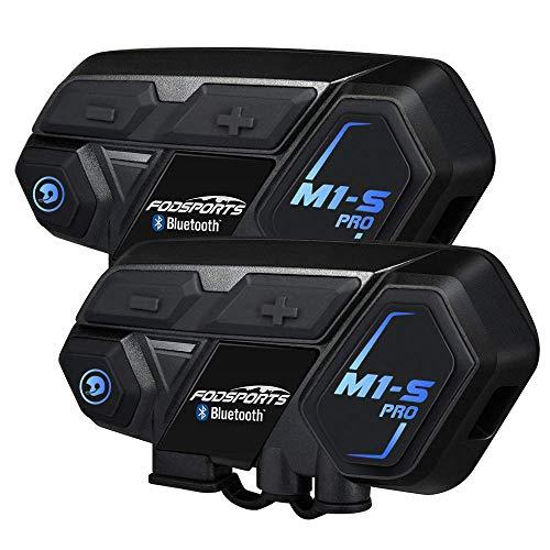 FODSPORTS バイク インカム M1-S Pro 最大8人同時通話 Bluetooth4.1 強い互換性 連続使用20時間 日本語音声案内 マルチデバイス接続 BTヘッドセット インターコム 防水 インカム バイク HI-FI音質 Siri/S-voice バイク用インカム ワイヤレス 2種類マイク付 バイク無線機 日本語オペレーションシステム&説明書 技適認証済み(2セット)