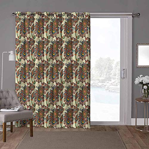 YUAZHOQI Grommet Thermal Insulated Darkening Room Divider Curtain, Ukrainian,Floral Paisley, W52 x L84 Inch Glass Door Curtains for Window(1 Panel)