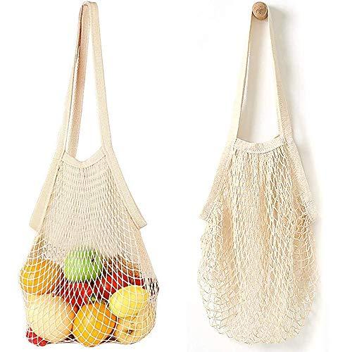 Bolsa de la compra de cuerda, 2 bolsas de malla reutilizables, bolsa portátil de la compra de red de algodón