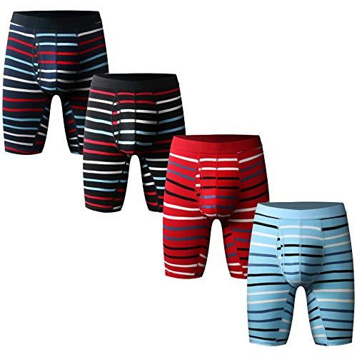 Nuofengkudu Herren Männer Gestreift Boxershorts Langes Bein Retroshorts Sport Unterhosen Muster Offen Elastan Baumwolle Bequeme Mode Boxer Brief Unterwäsche(4er Pack),L