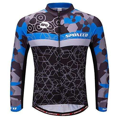 Mens Bike Shirts Winter Cycling Gear Bicycle Tops Long Sleeve Jacket US XL Blue Multi