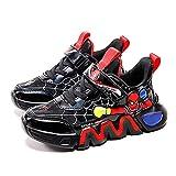 MYYLY Turnschuhe Kinder Spiderman Trainer Flache Schuhe Jungen Laufschuhe Mädchen Schule Tennis Atmungsaktiv Sportlich Leicht Mode Fitness Wanderschuhe,Black-35 (Inner Length~22.8CM)