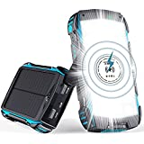Solar Charger 30000mAh, Solar Power Bank with Wireless Charger Fast Charging, 28 LEDs Flashlight with Dual 2A USB, 15W/3A Type-C Fast Charging Port for Camping, IP66 Waterproof for iPhone iPad Samsung