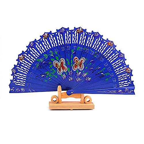 wangYUEQ Ventilador Plegable de Madera Damas de manubrio manualmente Boda Pintada a Mano Decoraciones para el hogar Danza de la Danza-Blanco (Color : Blau)