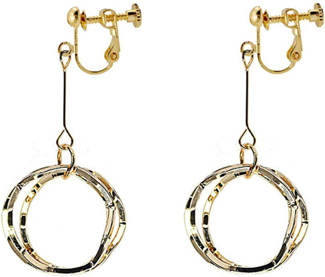 Round Dangle Clip on Earrings for Women Girls Gold Plated Three Circles Non-Pierced