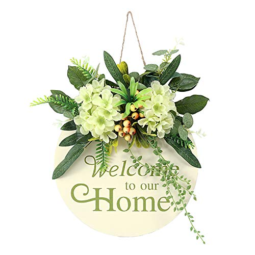 QYLJZB Welcome Sign Front Door Round Wood Signs Hanging with Artificial Flowers Holiday Letters for Farmhouse Porch Decorate Home Door Decoration 13 Inch (Mint Green)