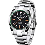 BENYAR Automatic Men's Watches Luxury Stainless Steel Wrist Watch for Men Waterproof Luminous Self-Winding Analog Business Wristwatch (Orange 5176M)