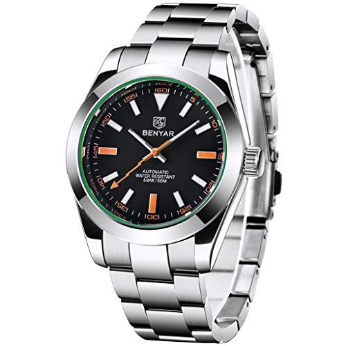 BENYAR, Reloj automático de Acero Inoxidable para Hombre, Reloj de Pulsera Informal Luminoso para Hombre, Reloj de Pulsera automático analógico Luminoso…