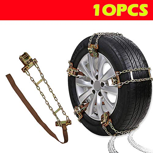 Bingqi [New Update Anti Slip Tire Chains,Snow Chains for Cars/Trucks/Pickups/RV/SUV of Tire Width 8.8'-10.8'(225-275mm), Passenger Car Snow Chains...