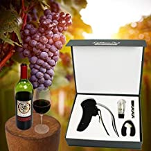 Corkscrew Wine Opener, Rabbit Lever Style Automatic Wine Opener Gift Box with Foil Cutter, Wine Aerator Decanter and Replacement Corckscrew (4 PC)