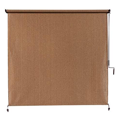 Coolaroo 462178 Outdoor Cordless Exterior Roller Shade, (4' x 8'), Walnut