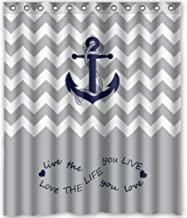 YEHO Art Gallery Infinity Live the Life You Love, Love the Life You Live.Gray and White Chevron Zig Zag Pattern with Anchor navy Waterproof Bathroom Fabric Shower Curtain 72X72 inches