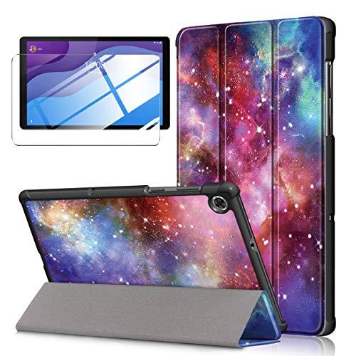 LYZXMY Custodia + Vetro Temperato per Lenovo Tab M10 HD (2nd Gen) 10.1  TB-X306F   TB-X306X - Pellicola Protettiva, Guscio Supporto Protettiva Tablet Cover in Pelle Flip PU Case - Milky Way