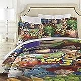 Toy Story gesteppte Tagesdecke, King-Size, 3-teiliges Mikrofaser-Bettdecken-Set mit modernem Bettüberwurf 177 x 218 cm + 2 Kissenbezüge 50 x 75 cm