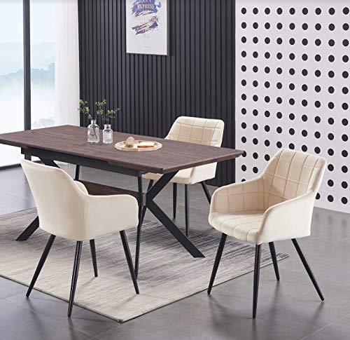 Life Interiors: Sedia Camden in velluto con cuciture quadrate   Cuscino imbottito   Sedia per sala da pranzo   Sedia laterale   Sedia da toletta   Crema 4