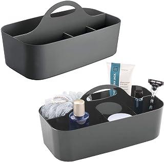 mDesign corbeille de douche avec 6 compartiments (lot de 2) – bac de rangement pour douche et salle de bain en plastique –...