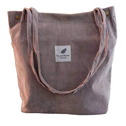 Funtlend Handtasche Damen groß Cord Tasche Damen Handtasche Shopper Damen für Uni Arbeit Mädchen Schule (Grau)
