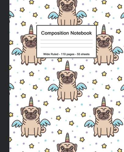 Composition Notebook: Blank Wide Ruled Paper Notebook | Cute Kawai French Bulldog Unicorn | Wide Lined Workbook Journal for Students Kids Children Girls Boys Teens