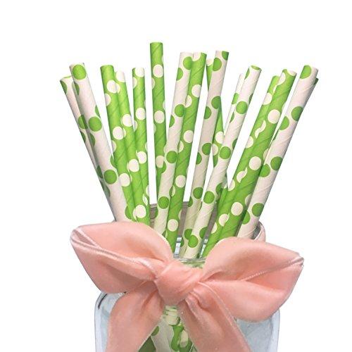 Cannucce bianche con pois verdi e verdi con pois bianchi, confezione da 100 cannucce di carta per bevande