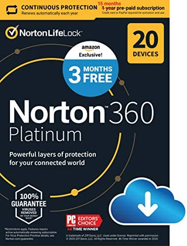 Norton 360 Platinum 2021 Antivirus software for 20 Devices with Auto Renewal 3 Months FREE Includes product image