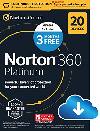 Norton 360 Platinum 2021 – Antivirus software for 20 Devices with Auto Renewal - 3 Months FREE - Includes VPN, PC Cloud Backup & Dark Web Monitoring [Download]