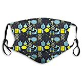 Comfortable Printed mask,Education, Science Class Themed Biology Chemistry and Physics Protons Neutrons, Turquoise Yellow Black,Windproof Facial decorations for Adults-One Size