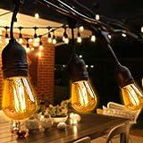 BRTLX S14 Guirlande Exterieur Guinguette, IP65 Etanche,15M Guirlandes Lumineuses avec 15 LED Ampoules 2W Blanc Chaud,Décoration Intérieur et Extérieur pour Fête Jardin Mariage Patio