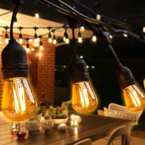 BRTLX S14 Guirlande Exterieur Guinguette, IP65 Etanche,15M Guirlandes Lumineuses avec 15 LED Ampoules 2W Blanc...