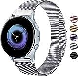 Wanme Correa Compatible con Samsung Galaxy Watch Active/Active 2 40mm 44mm, 20mm Metal Pulsera de Repuesto de Acero Inoxidable para Galaxy Watch 3 41mm / Gear S2 Classic/Gear Sport (Plata)