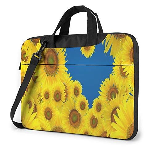 Sunshine Love Heart Sunflowers Laptop Case 14 Inch Computer Carrying Protective Case with Strap Bag