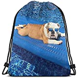 Arvolas Bolsas con cordón de Gimnasio Pug Enjoy Sunshine Blue String Pull Backpack Bolsa Ligera de Saco