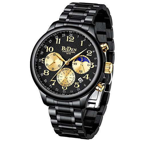 Herren Uhr Chronographen Armbanduhr Moon Edelstahl Analog Quarz mit Edelstahl Metallarmband Großes Datum Kalender für Männer-Gold Schwarz