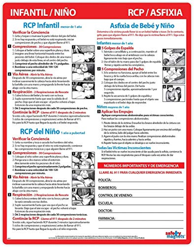2 PACK: Infant and Child CPR/Choking First Aid in SPANISH - Laminated Card with Magnets - 8.5 x 11 in.