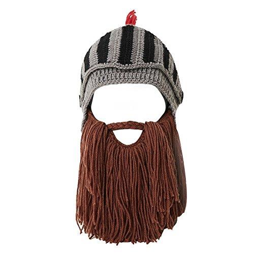 Lantra Besa Damen Herren Römischer Krieger Helm Mütze mit Bart Lustige Bartmütze für Karneval Halloween Cosplay Party EINWEG CC0004 - Brauner Bart