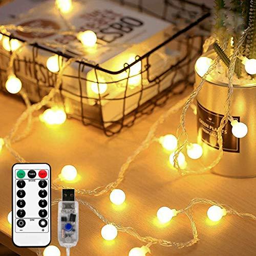 SFOUR フェアリーライト電飾led イルミネーションライト 6M50個LED USB電源 クリスマス 飾りツリー led電球庭 ライト屋外防水イルミ室内枕元 ライト ledに適してベッドルーム アウトドア 結婚式 庭対応 誕生日 (電球色, 6)