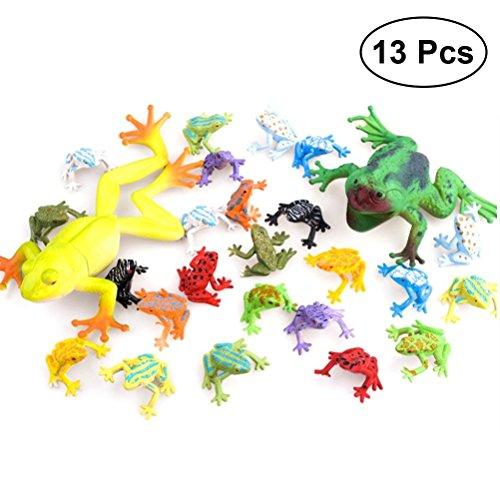 ysister 13 Stücke Tierfiguren, Minifrosch-Set aus Gummi Spielzeuge in Form von Frosch Lernstoffe, Partyzubehör, Figuren Spielzeug Pädagogisches Tier Lernspielzeug Badespielzeug für Kind(Zufall)