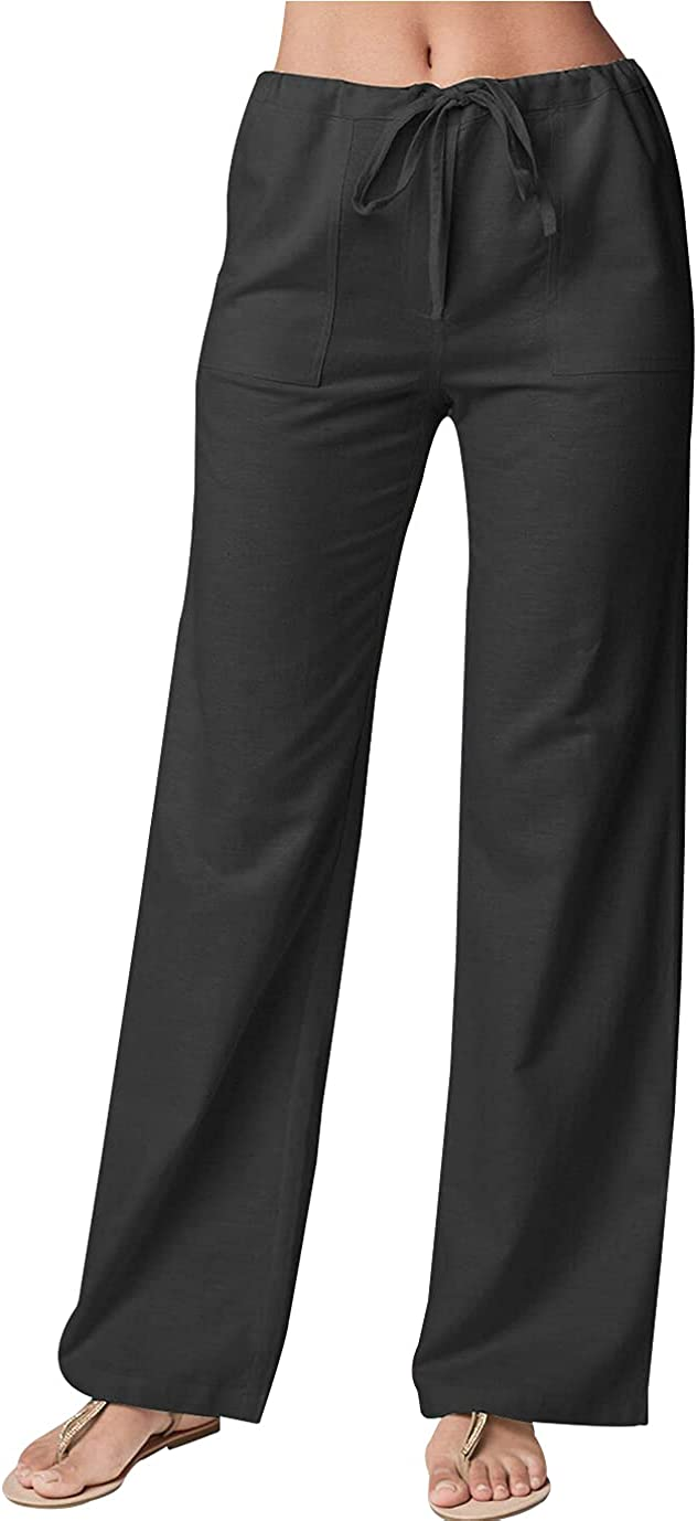 Duyang Women's Cotton Linen Pants Casual Drawstring Loose Fit Beach Trousers with Pockets