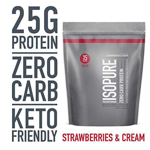 Isopure Zero Carb, Keto Friendly Protein Powder, 100% Whey Protein Isolate, Flavor: Strawberries & Cream, 1 Pound (Packaging May Vary)