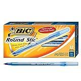 BIC Round Stic Xtra Life Ballpoint Pen, Medium Point (1.0mm), Blue, 12-Count