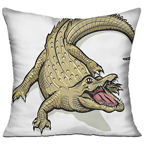 Reptiles Illustration of Exotic Wild Crocodile Hungry Mouth Predator Aquatic Safari Jaws Home Decorative Navy White Apartment Decor Throw Pillow Cover 18\
