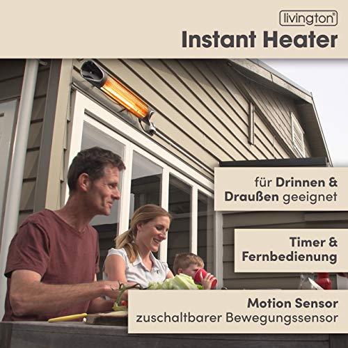 Mediashop Livington Instant Heater – Infrarotheizung für schnelle Wärme ohne Energieverlust – Heizstrahler mit Timer & Fernbedienung – auch als Terrassenheizstrahler im Außenbereich - 2