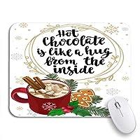 NINEHASA 可愛いマウスパッド ホットチョコレートマシュマロシナモンホリーファーとジンジャーブレッドクリスマスノンスリップラバーバッキングコンピュータマウスパッド用ノートブックマウスマット