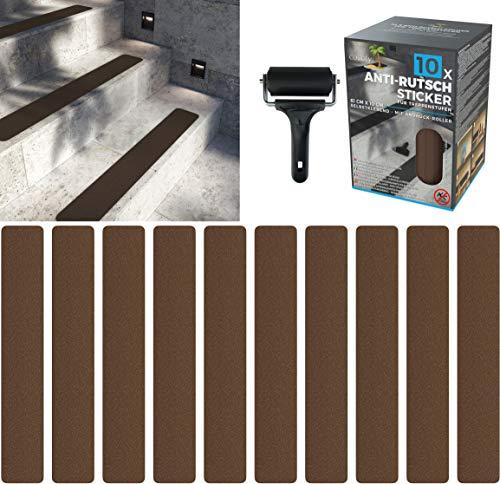 cocofy Anti-Rutsch Sticker für Treppen außen und innen | 10x Streifen (61x10 cm) braun | Starker Halt Dank Spezial-Outdoor-Oberfläche | Rutsch-Schutz für Treppenstufen | mit Montageroller
