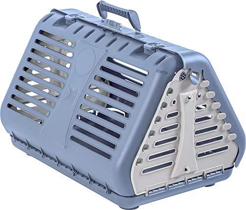 Rotho Toby Faltbare Transportbox für Katzen, kleine Hunde und Kleintiere, Kunststoff (PP) BPA-frei, blau/weiss, 53,4 x 42,5 x 12,4 cm